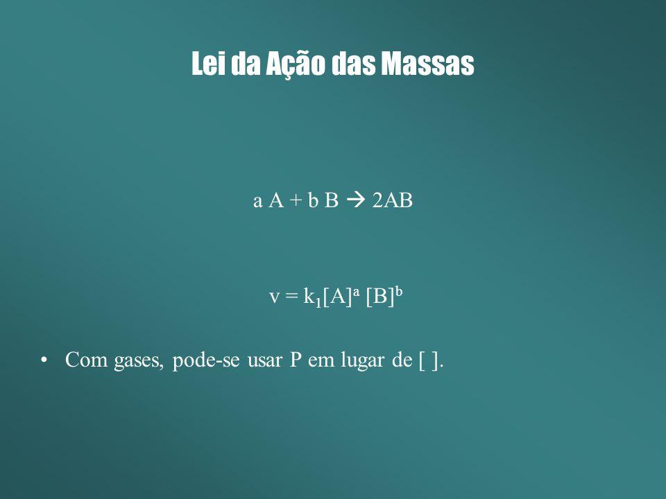 Lei da Ação das Massas a A + b B 2AB v = k 1 [A] a [B] b Com gases, pode-se usar P em lugar de [ ].