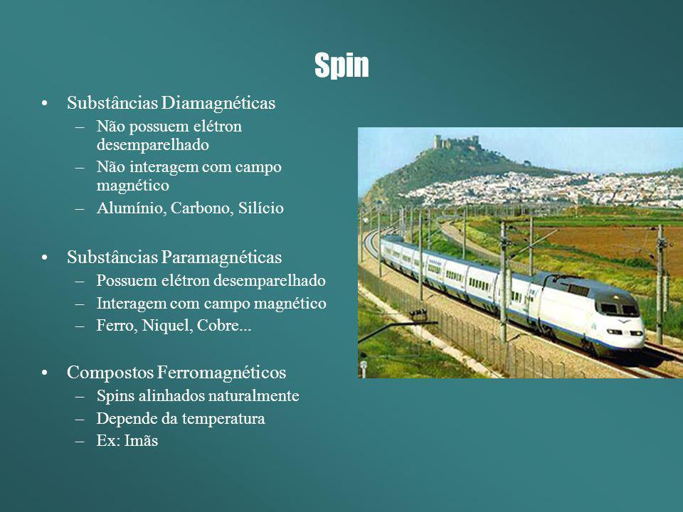 Spin Substâncias Diamagnéticas –Não possuem elétron desemparelhado –Não interagem com campo magnético –Alumínio, Carbono, Silício Substâncias Paramagn