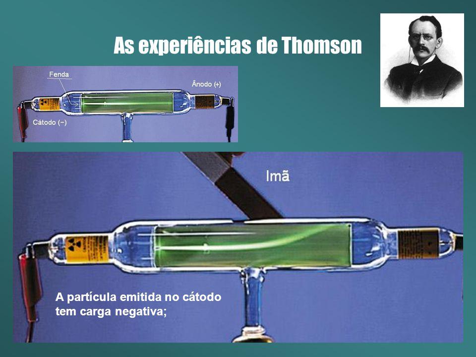 As experiências de Thomson A partícula emitida no cátodo tem carga negativa;