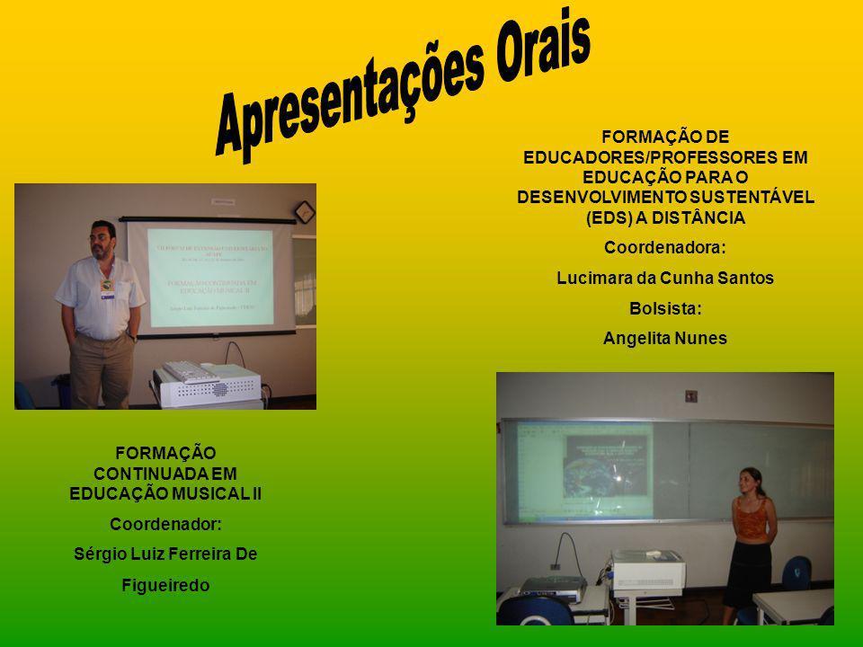 FORMAÇÃO CONTINUADA EM EDUCAÇÃO MUSICAL II Coordenador: Sérgio Luiz Ferreira De Figueiredo FORMAÇÃO DE EDUCADORES/PROFESSORES EM EDUCAÇÃO PARA O DESEN
