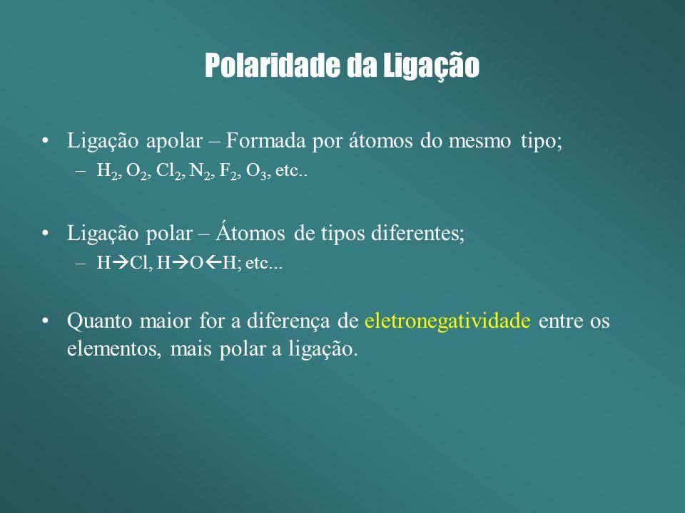 Polaridade da Ligação Ligação apolar – Formada por átomos do mesmo tipo; –H 2, O 2, Cl 2, N 2, F 2, O 3, etc.. Ligação polar – Átomos de tipos diferen