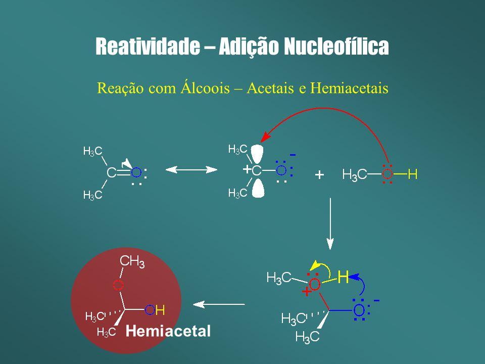 Reatividade – Adição Nucleofílica Reação com Álcoois – Acetais e Hemiacetais Hemiacetal