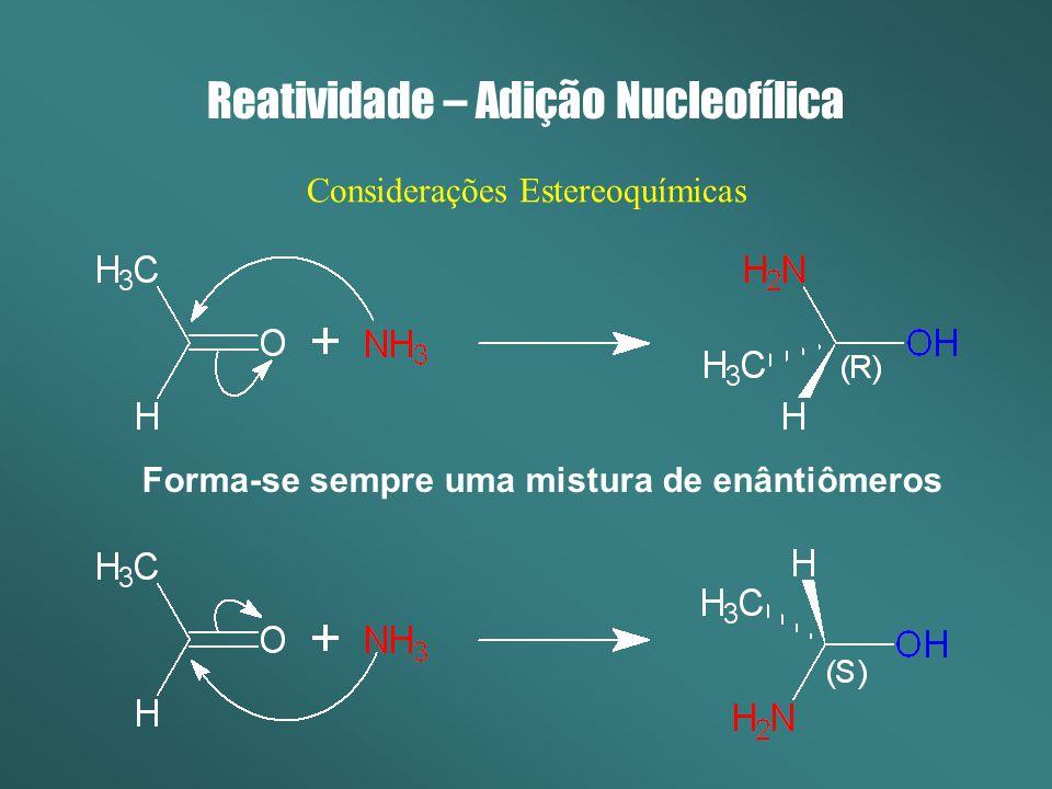 Reatividade – Adição Nucleofílica Considerações Estereoquímicas Forma-se sempre uma mistura de enântiômeros