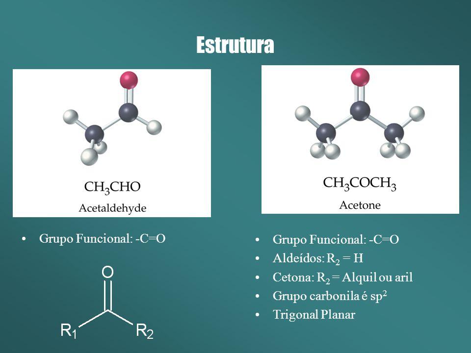 Estrutura Grupo Funcional: -C=O Aldeídos: R 2 = H Cetona: R 2 = Alquil ou aril Grupo carbonila é sp 2 Trigonal Planar