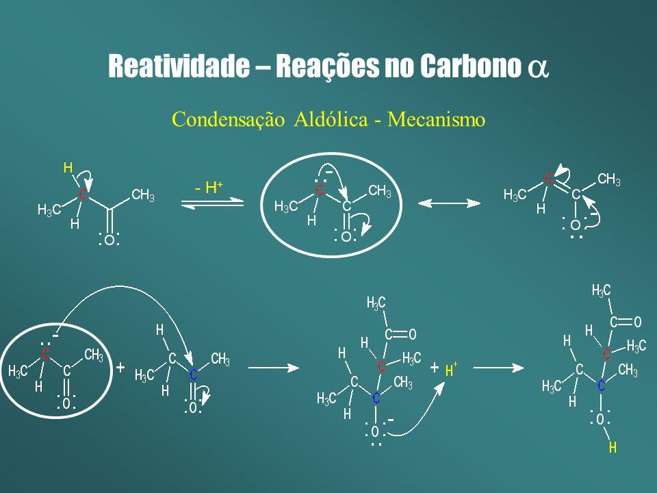 Reatividade – Reações no Carbono Condensação Aldólica - Mecanismo - H +