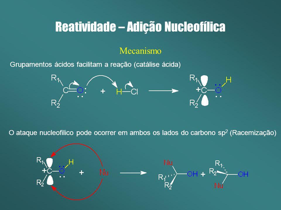 Reatividade – Adição Nucleofílica Mecanismo Grupamentos ácidos facilitam a reação (catálise ácida) O ataque nucleofilico pode ocorrer em ambos os lado