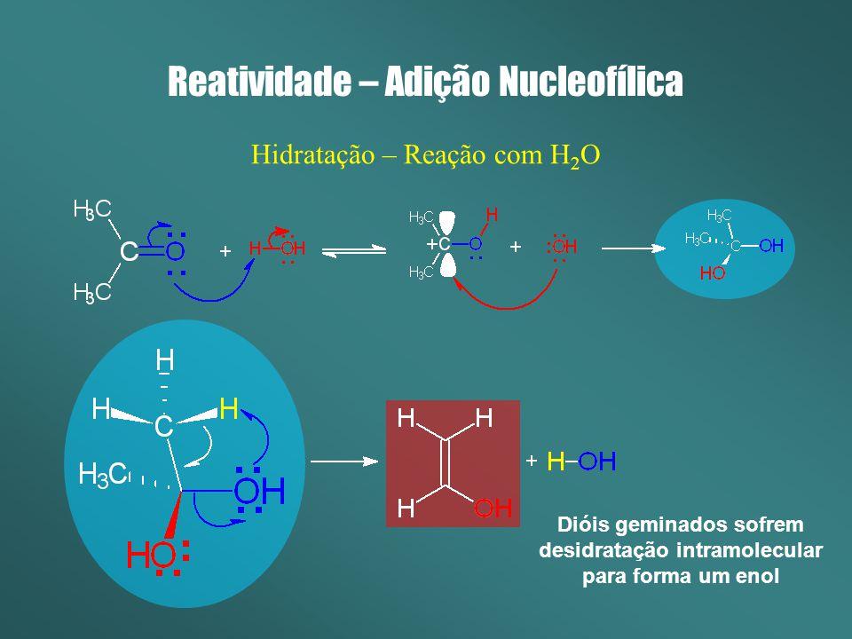 Reatividade – Adição Nucleofílica Hidratação – Reação com H 2 O Dióis geminados sofrem desidratação intramolecular para forma um enol