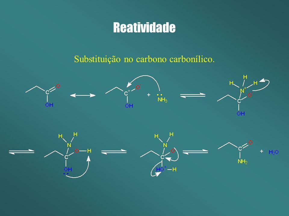 Reatividade Substituição no carbono carbonílico.