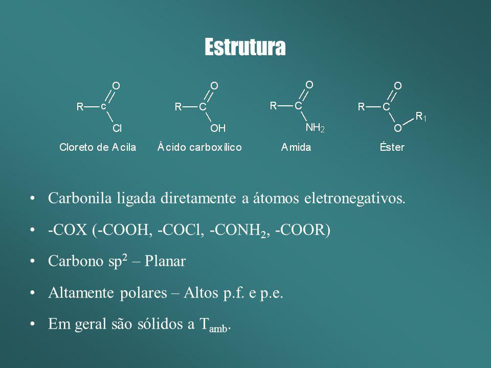 Estrutura Carbonila ligada diretamente a átomos eletronegativos. -COX (-COOH, -COCl, -CONH 2, -COOR) Carbono sp 2 – Planar Altamente polares – Altos p