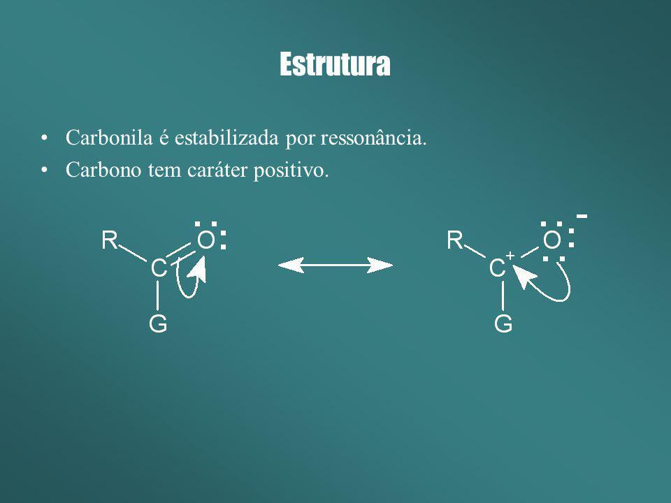 Estrutura Carbonila é estabilizada por ressonância. Carbono tem caráter positivo.