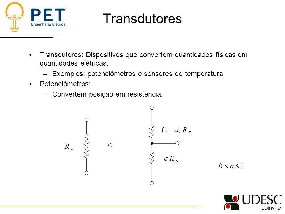 Transdutores Transdutores: Dispositivos que convertem quantidades físicas em quantidades elétricas. –Exemplos: potenciômetros e sensores de temperatur