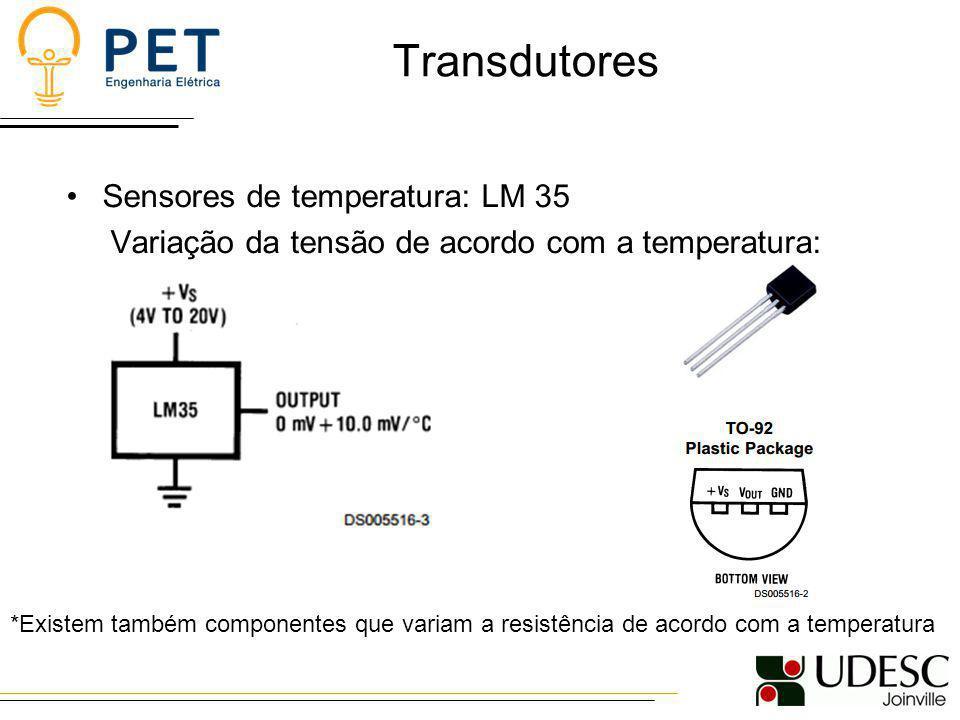 Transdutores Sensores de temperatura: LM 35 Variação da tensão de acordo com a temperatura: *Existem também componentes que variam a resistência de ac