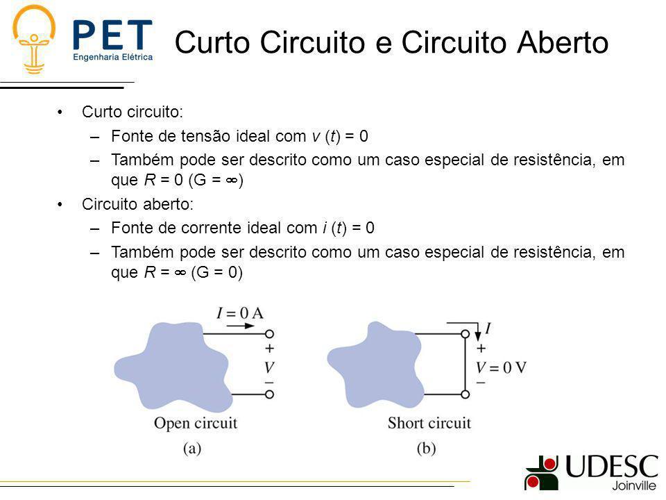 Curto Circuito e Circuito Aberto Curto circuito: –Fonte de tensão ideal com v (t) = 0 –Também pode ser descrito como um caso especial de resistência,