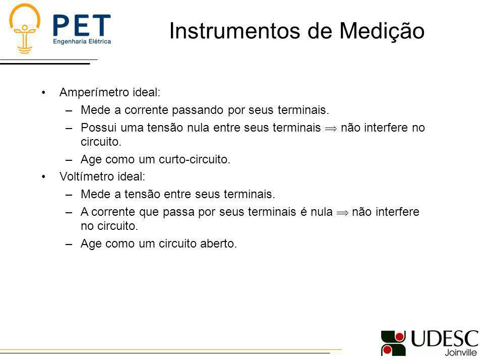 Instrumentos de Medição Amperímetro ideal: –Mede a corrente passando por seus terminais. –Possui uma tensão nula entre seus terminais não interfere no