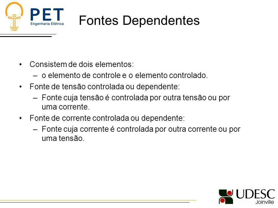 Fontes Dependentes Consistem de dois elementos: –o elemento de controle e o elemento controlado. Fonte de tensão controlada ou dependente: –Fonte cuja