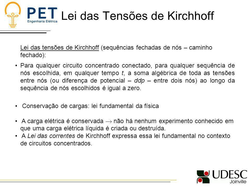 Lei das Tensões de Kirchhoff Lei das tensões de Kirchhoff (sequências fechadas de nós – caminho fechado): Para qualquer circuito concentrado conectado