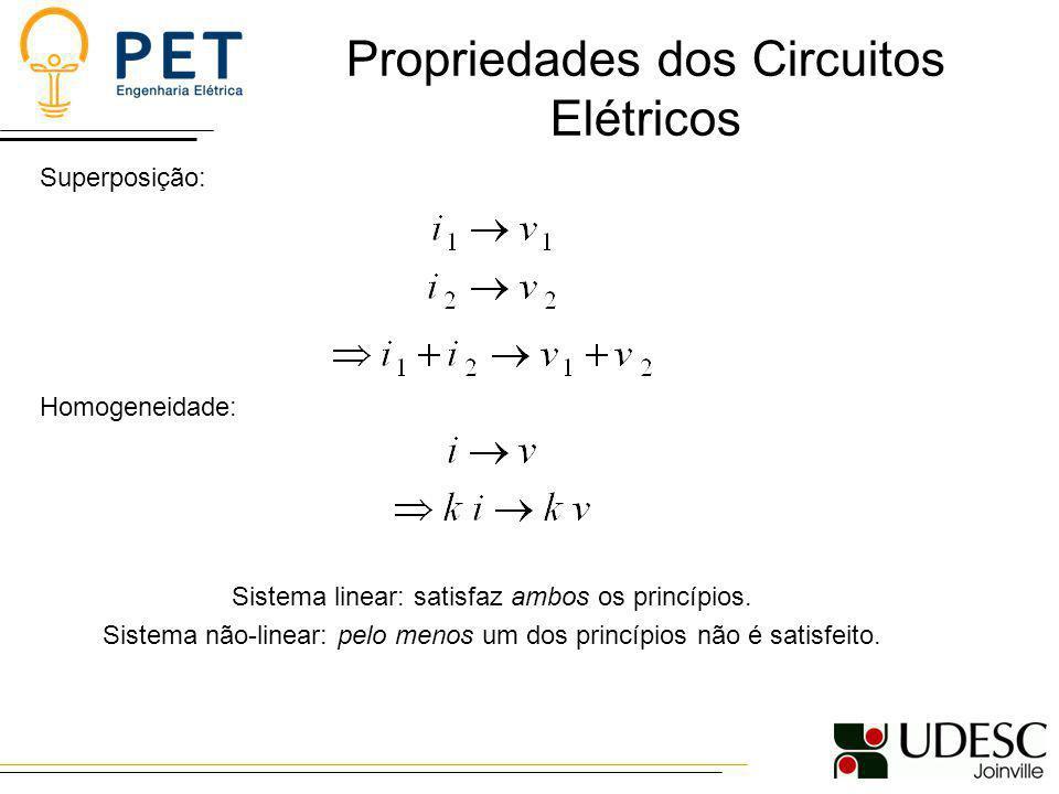 Propriedades dos Circuitos Elétricos Superposição: Homogeneidade: Sistema linear: satisfaz ambos os princípios. Sistema não-linear: pelo menos um dos