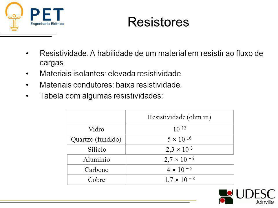 Resistores Resistividade: A habilidade de um material em resistir ao fluxo de cargas. Materiais isolantes: elevada resistividade. Materiais condutores