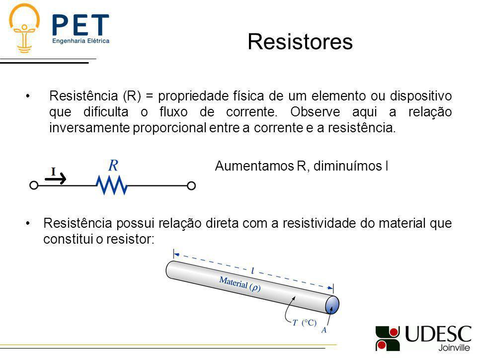 Resistores Resistência (R) = propriedade física de um elemento ou dispositivo que dificulta o fluxo de corrente. Observe aqui a relação inversamente p
