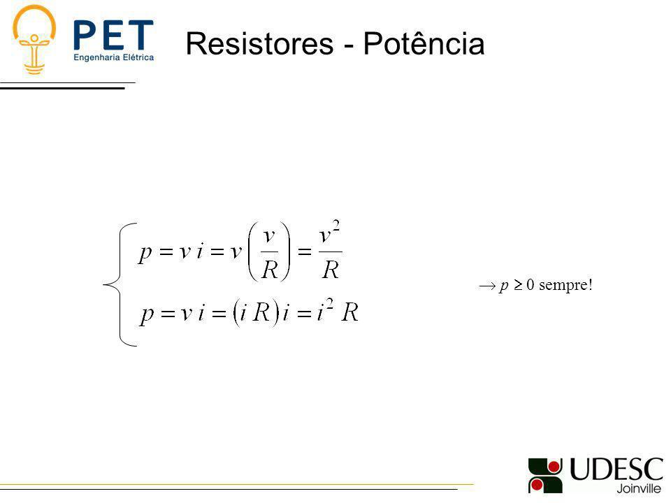 Resistores - Potência Exemplo: Modelo para uma bateria de carro quando as luzes são deixadas acesas e o motor desligado.