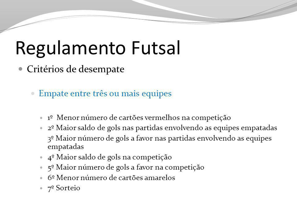 Regulamento Futsal Critérios de desempate Empate entre três ou mais equipes 1º Menor número de cartões vermelhos na competição 2º Maior saldo de gols