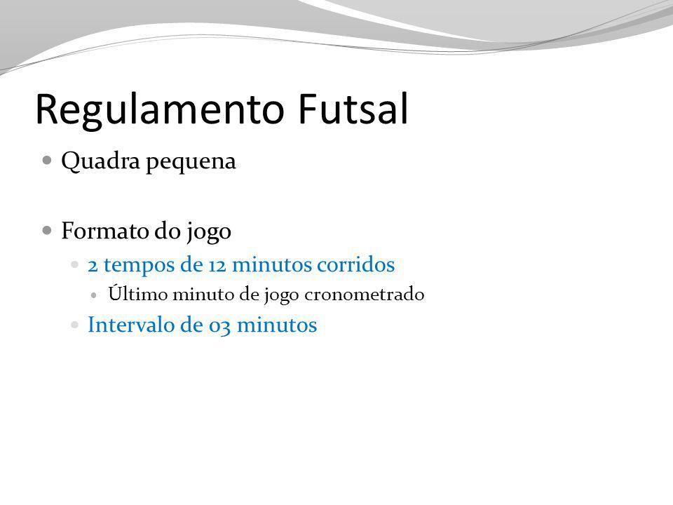 Regulamento Futsal Quadra pequena Formato do jogo 2 tempos de 12 minutos corridos Último minuto de jogo cronometrado Intervalo de 03 minutos