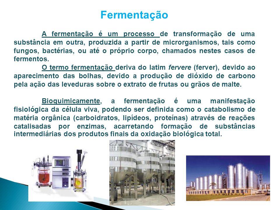 Fermentação A fermentação é um processo de transformação de uma substância em outra, produzida a partir de microrganismos, tais como fungos, bactérias