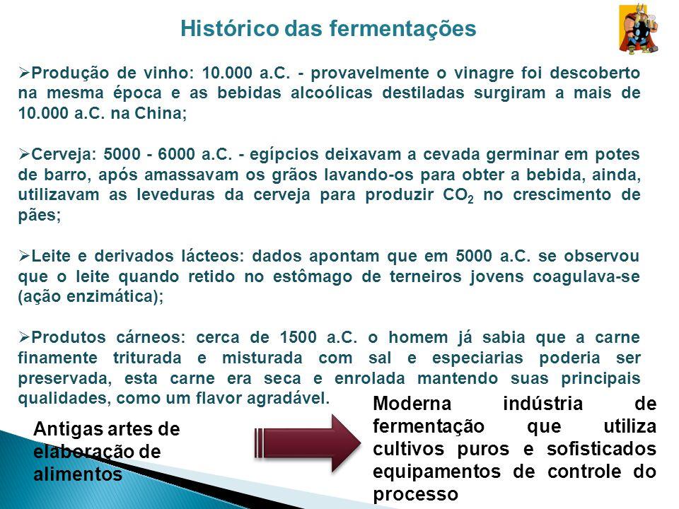 Histórico das fermentações Produção de vinho: 10.000 a.C. - provavelmente o vinagre foi descoberto na mesma época e as bebidas alcoólicas destiladas s