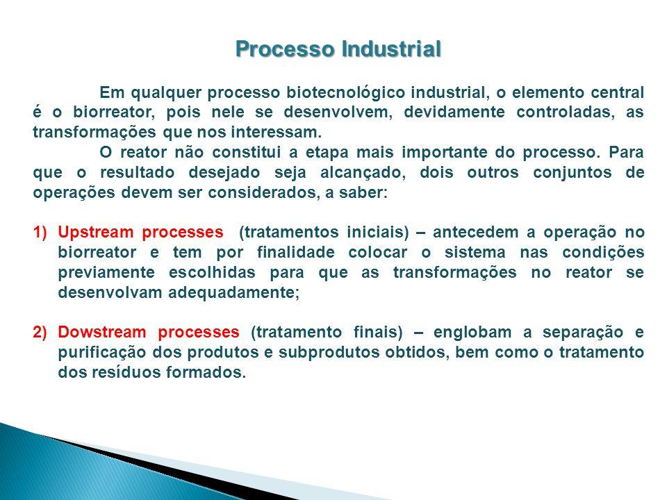 Processo Industrial Em qualquer processo biotecnológico industrial, o elemento central é o biorreator, pois nele se desenvolvem, devidamente controlad
