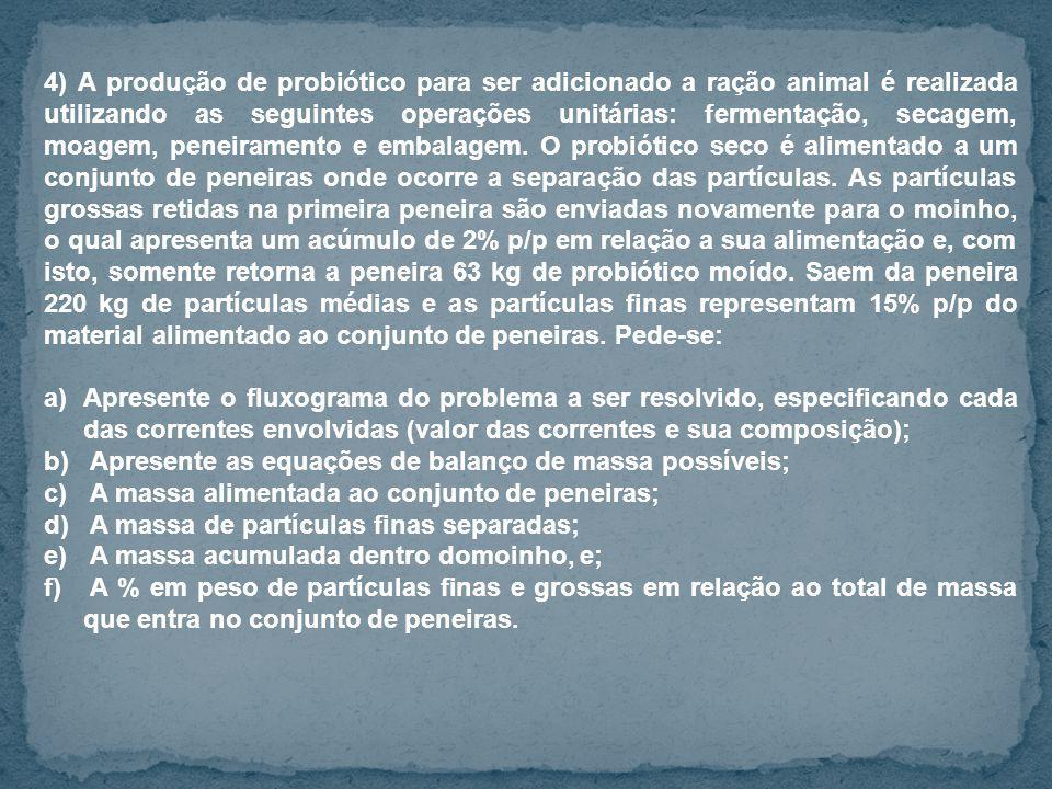 4) A produção de probiótico para ser adicionado a ração animal é realizada utilizando as seguintes operações unitárias: fermentação, secagem, moagem,