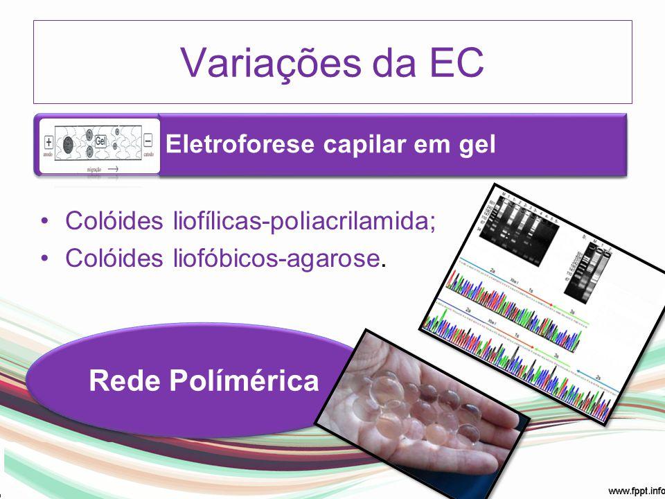 Colóides liofílicas-poliacrilamida; Colóides liofóbicos-agarose. Variações da EC Eletroforese capilar em gel Rede Polímérica