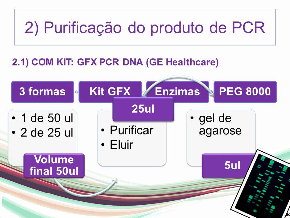 2) Purificação do produto de PCR 3 formasKit GFXEnzimasPEG 8000 1 de 50 ul 2 de 25 ul Volume final 50ul Purificar Eluir 25ul gel de agarose 5ul 2.1) C
