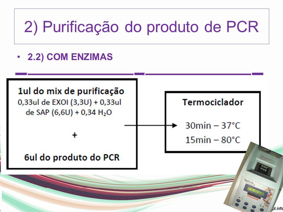 2) Purificação do produto de PCR 2.2) COM ENZIMAS Exonuclease I (EXO I) -GE Healthcare- E70073Z (2.500U) Shrimp Alkaline Phosphatase (SAP) - GE Health