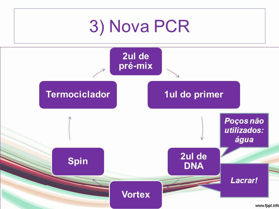 2ul de pré-mix 1ul do primer 2ul de DNA VortexSpinTermociclador 3) Nova PCR Poços não utilizados: água Lacrar!