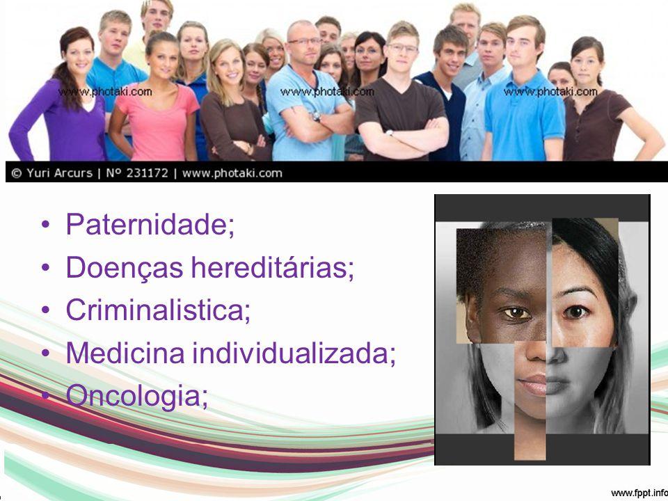 Em Humanos: Paternidade; Doenças hereditárias; Criminalistica; Medicina individualizada; Oncologia;