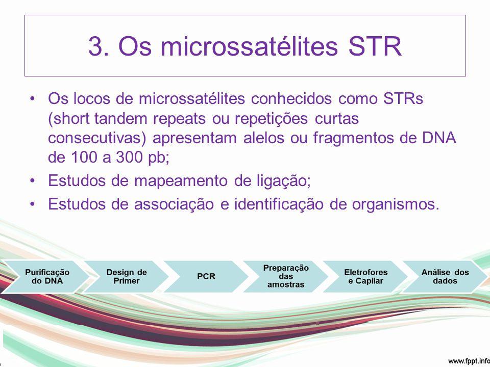 3. Os microssatélites STR Os locos de microssatélites conhecidos como STRs (short tandem repeats ou repetições curtas consecutivas) apresentam alelos