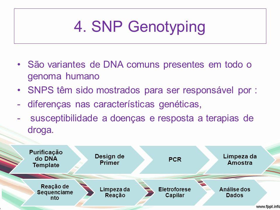 4. SNP Genotyping São variantes de DNA comuns presentes em todo o genoma humano SNPS têm sido mostrados para ser responsável por : -diferenças nas car