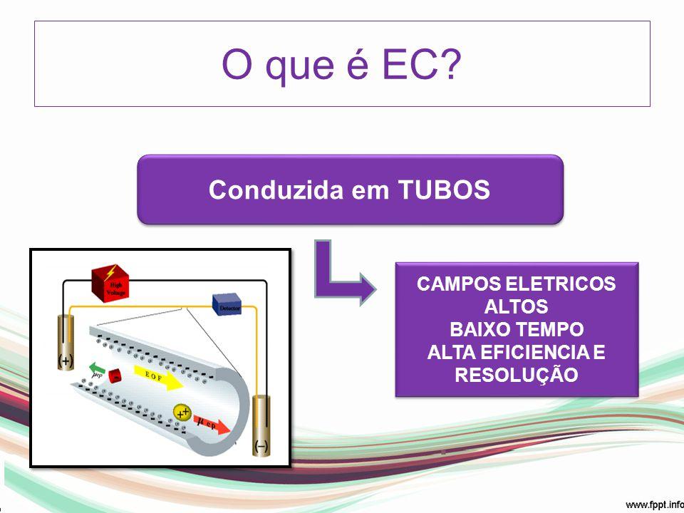 Conduzida em TUBOS O que é EC? 15 a 100 µm /50 a 100 cm CAMPOS ELETRICOS ALTOS BAIXO TEMPO ALTA EFICIENCIA E RESOLUÇÃO CAMPOS ELETRICOS ALTOS BAIXO TE