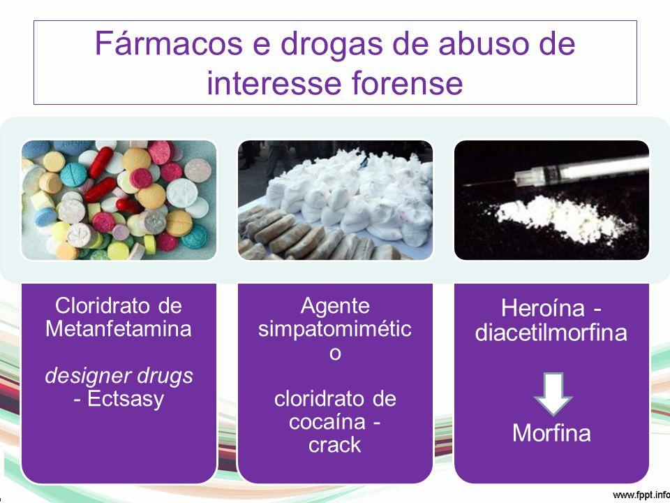 Fármacos e drogas de abuso de interesse forense Cloridrato de Metanfetamina designer drugs - Ectsasy Agente simpatomimétic o cloridrato de cocaína - c