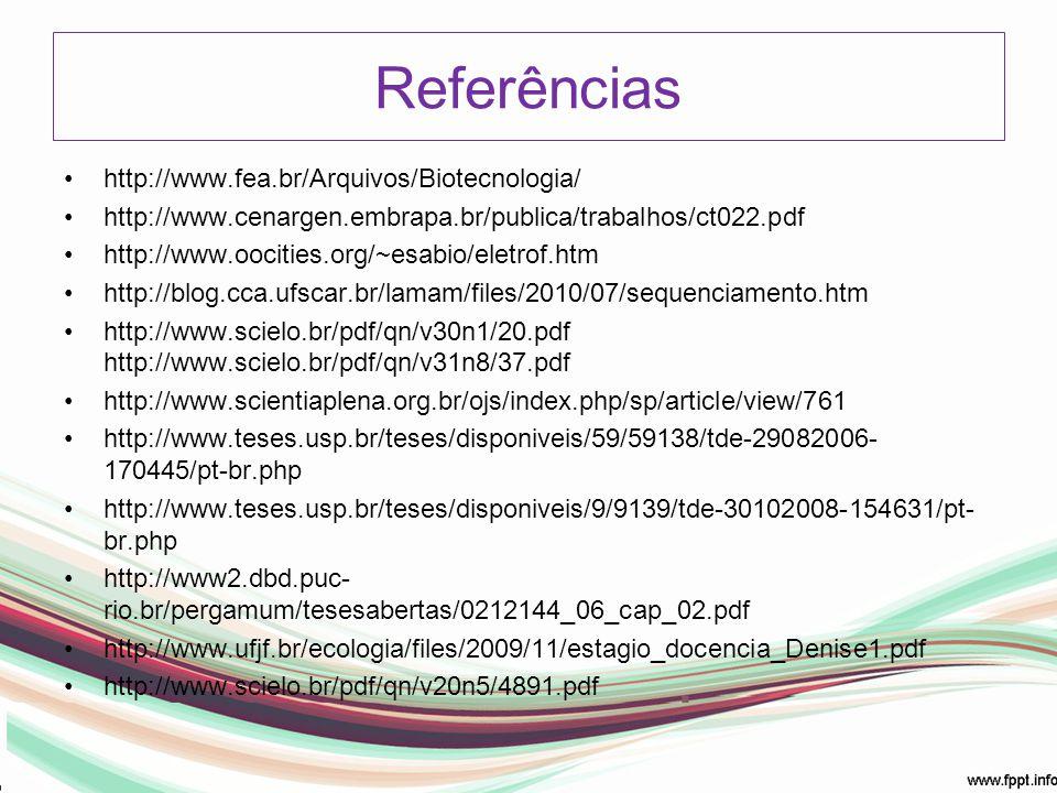 Referências http://www.fea.br/Arquivos/Biotecnologia/ http://www.cenargen.embrapa.br/publica/trabalhos/ct022.pdf http://www.oocities.org/~esabio/eletr