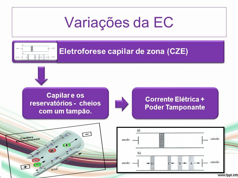 Eletroforese capilar de zona (CZE) Capilar e os reservatórios - cheios com um tampão. Corrente Elétrica + Poder Tamponante Variações da EC