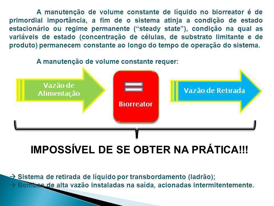 A manutenção de volume constante de líquido no biorreator é de primordial importância, a fim de o sistema atinja a condição de estado estacionário ou