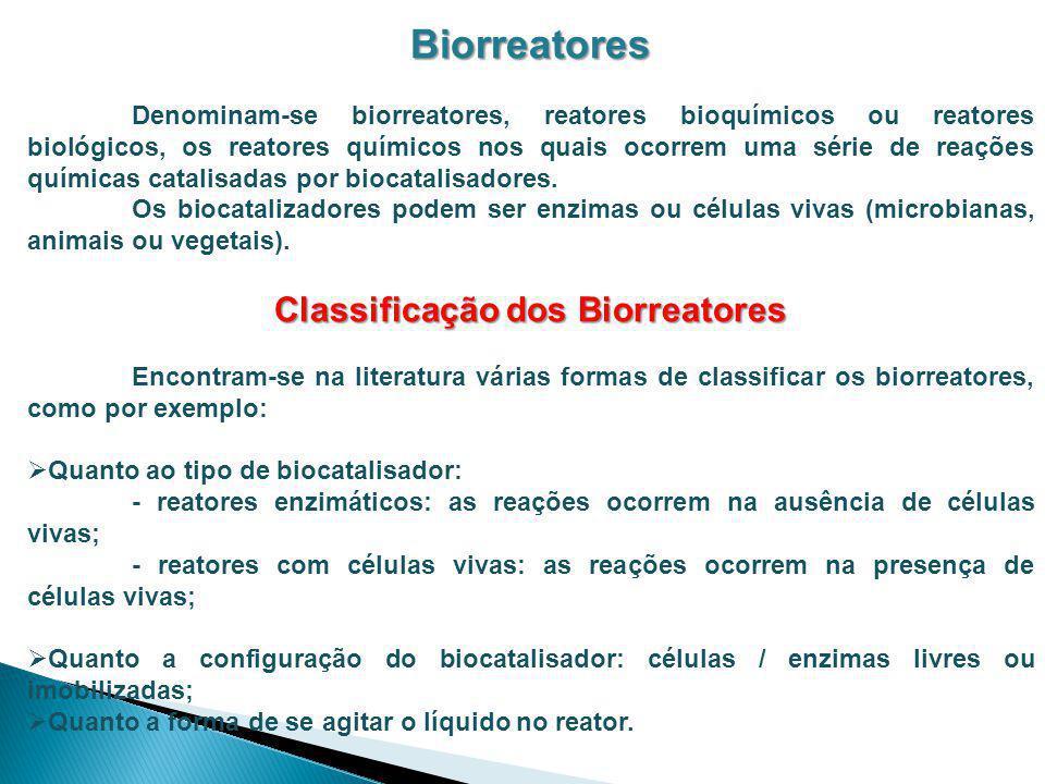 Biorreatores Denominam-se biorreatores, reatores bioquímicos ou reatores biológicos, os reatores químicos nos quais ocorrem uma série de reações quími