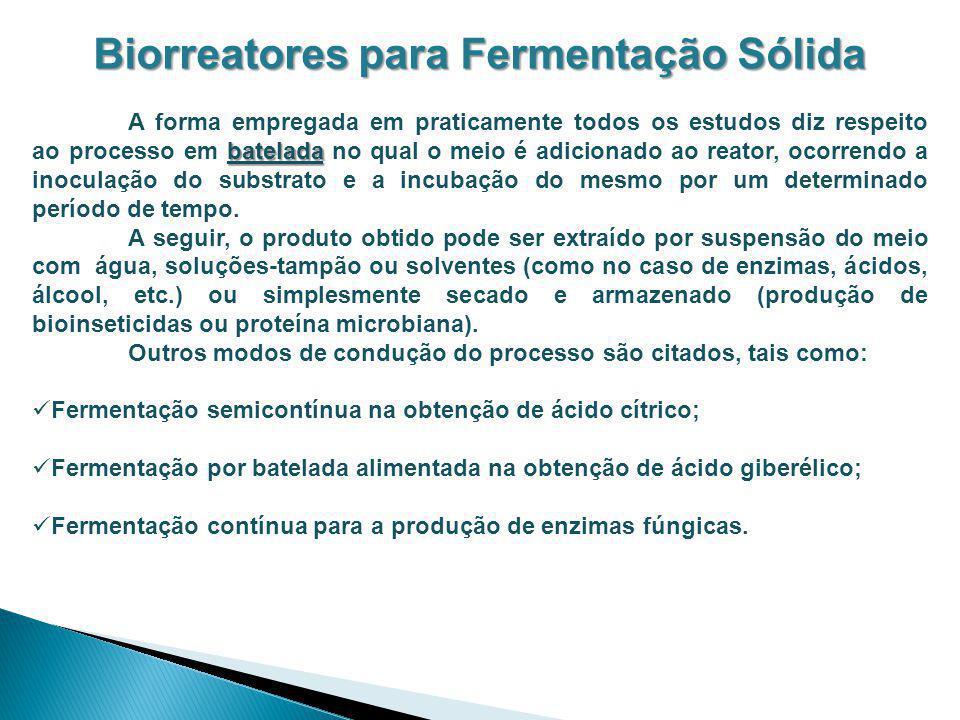 Biorreatores para Fermentação Sólida batelada A forma empregada em praticamente todos os estudos diz respeito ao processo em batelada no qual o meio é