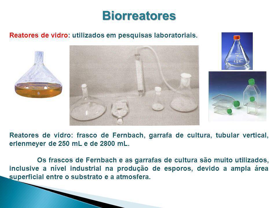 Biorreatores Reatores de vidro: utilizados em pesquisas laboratoriais. Reatores de vidro: frasco de Fernbach, garrafa de cultura, tubular vertical, er