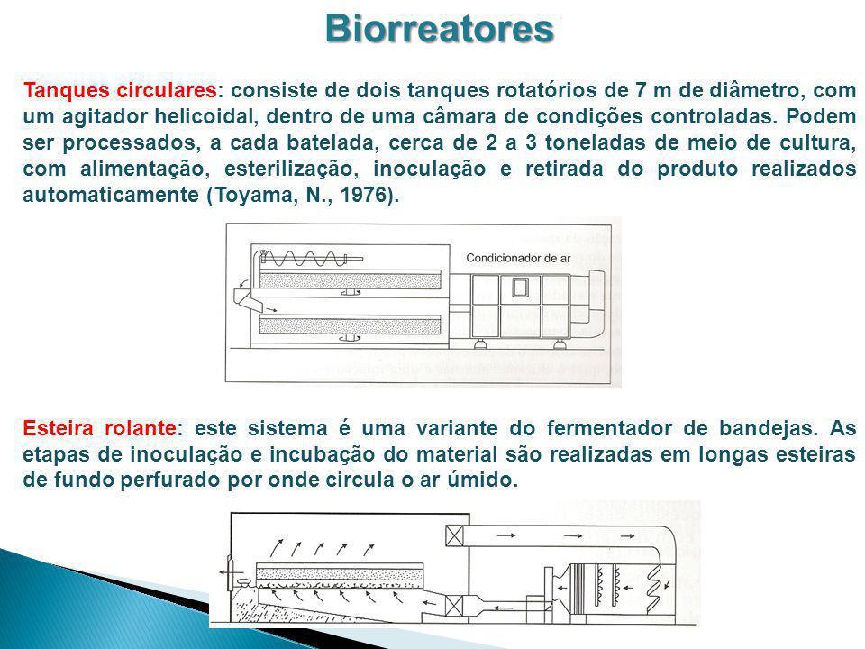 Biorreatores Tanques circulares: consiste de dois tanques rotatórios de 7 m de diâmetro, com um agitador helicoidal, dentro de uma câmara de condições