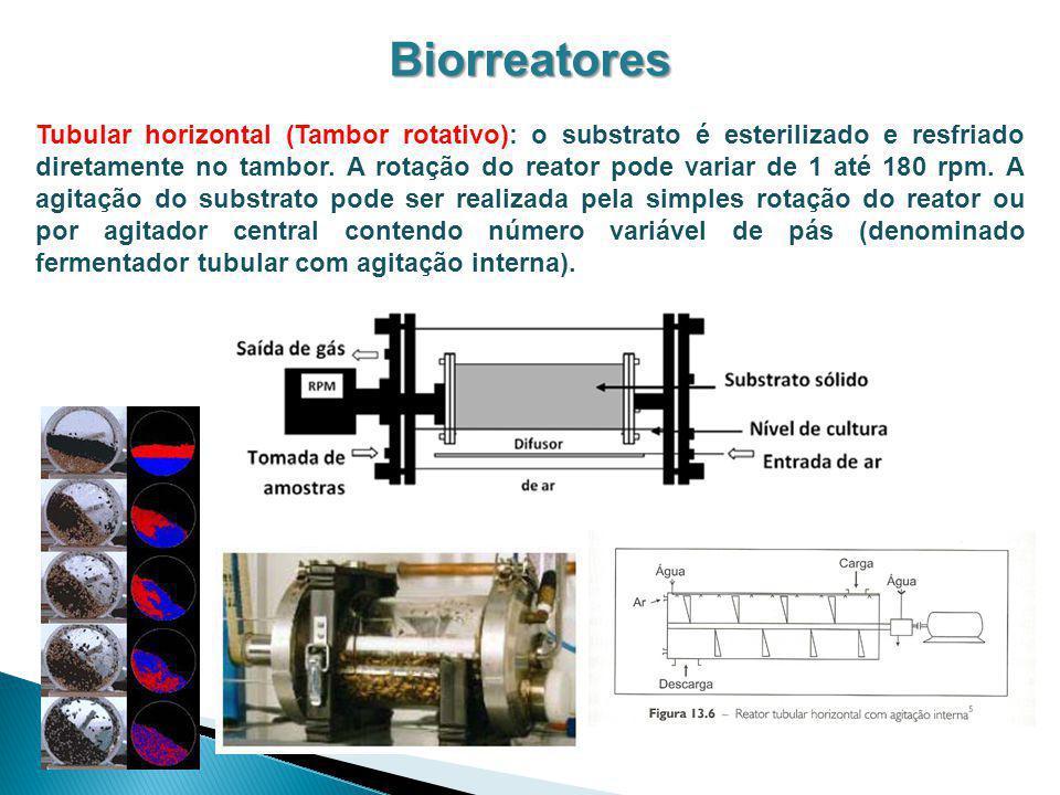 Biorreatores Tubular horizontal (Tambor rotativo): o substrato é esterilizado e resfriado diretamente no tambor. A rotação do reator pode variar de 1