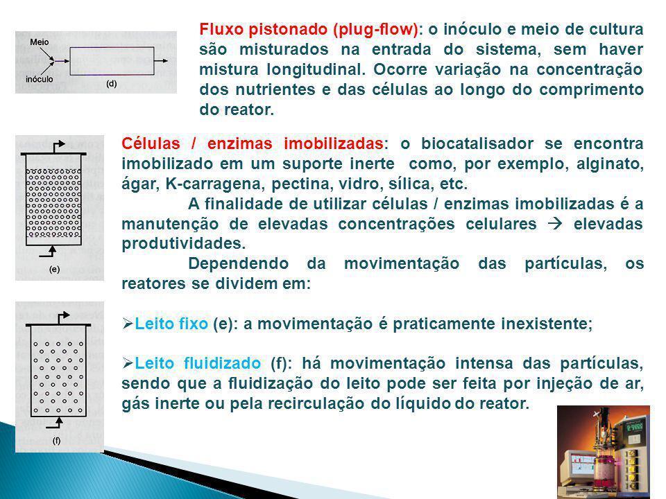 Fluxo pistonado (plug-flow): o inóculo e meio de cultura são misturados na entrada do sistema, sem haver mistura longitudinal. Ocorre variação na conc
