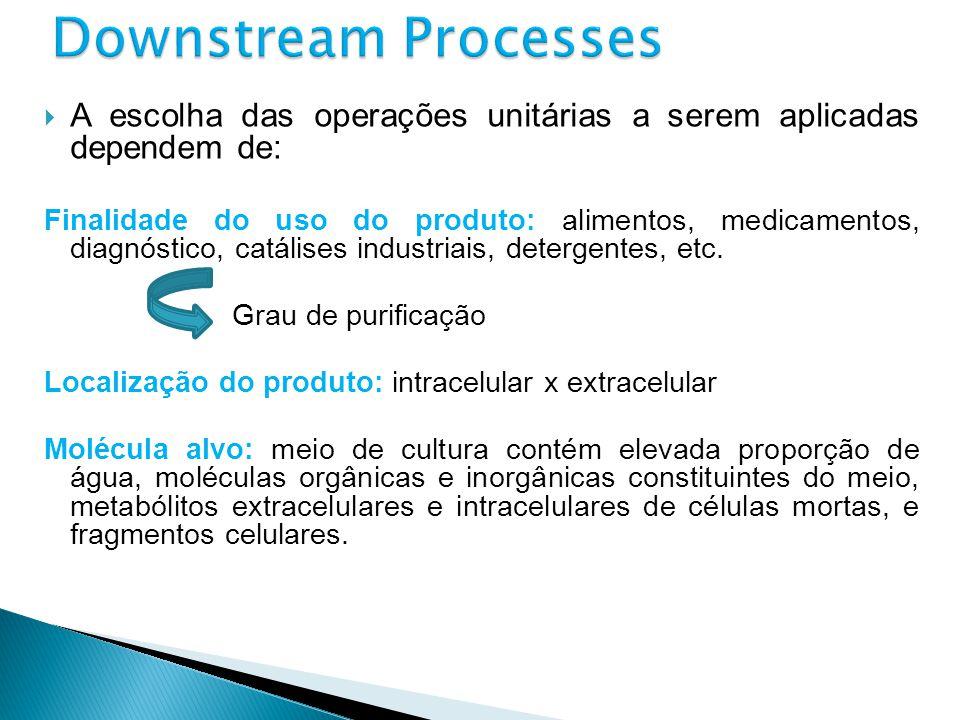 A escolha das operações unitárias a serem aplicadas dependem de : Finalidade do uso do produto: alimentos, medicamentos, diagnóstico, catálises indust