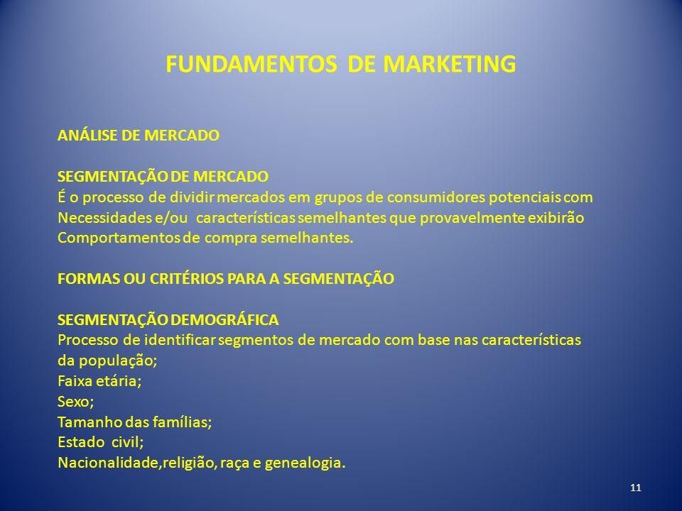FUNDAMENTOS DE MARKETING ANÁLISE DE MERCADO SEGMENTAÇÃO DE MERCADO É o processo de dividir mercados em grupos de consumidores potenciais com Necessida